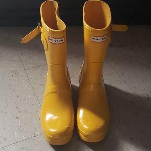 Yellow Hunter Boots Womens